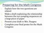 preparing for the math congress