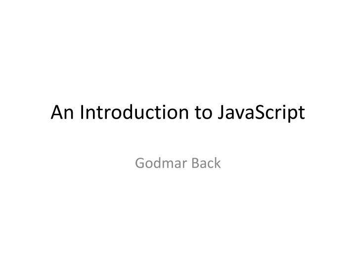 an introduction to javascript n.
