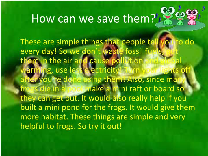 How can we save them?