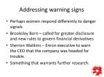 addressing warning signs