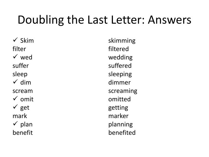 Doubling the Last Letter: Answers