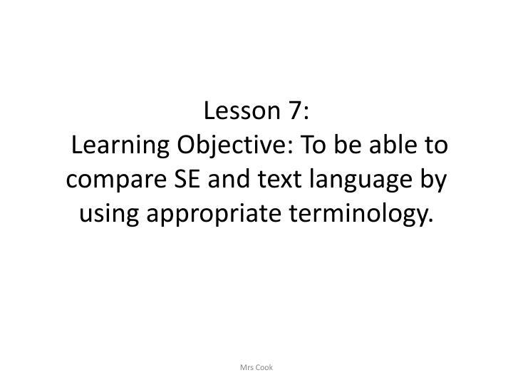 Lesson 7: