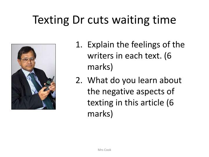 Texting Dr cuts waiting time