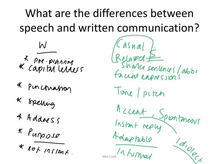 What are the differences between speech and written communication?