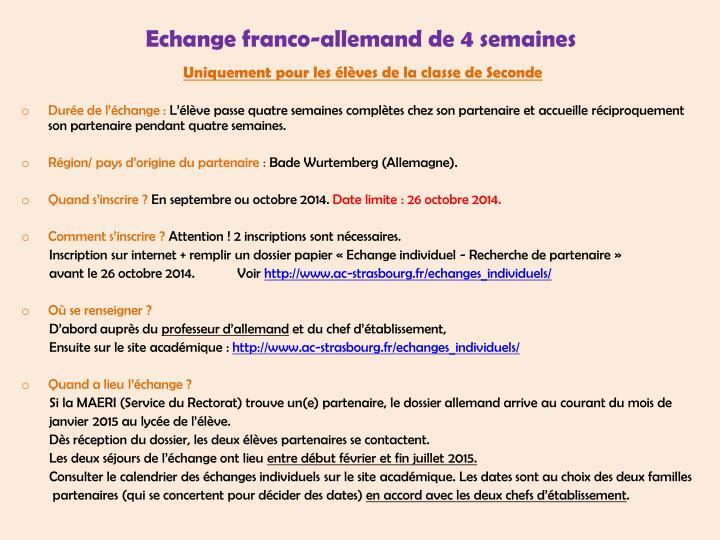 Echange franco-allemand de 4