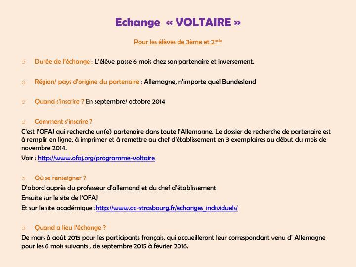 Echange  «VOLTAIRE»
