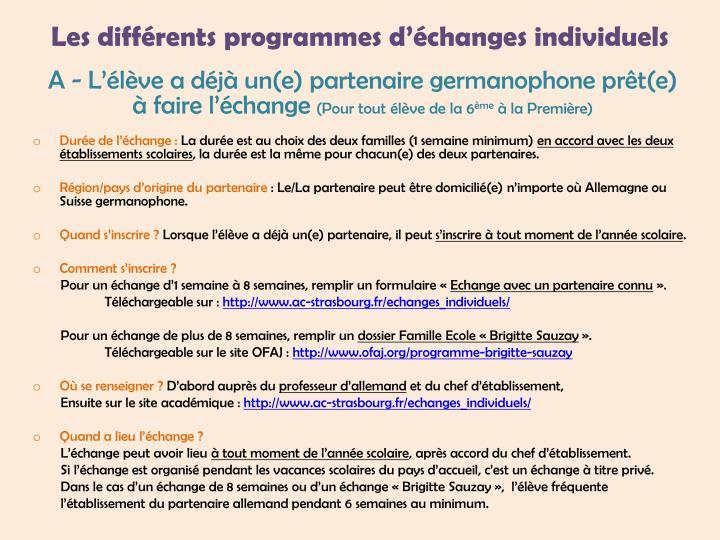 Les différents programmes d'échanges individuels