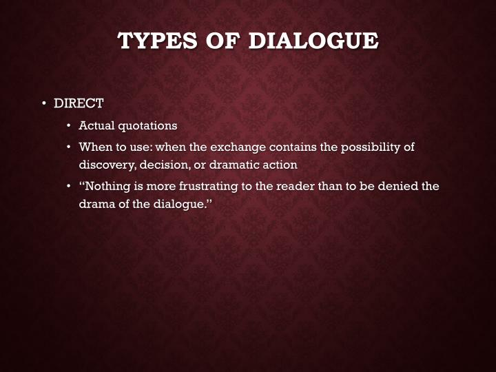 types of dialogue n.