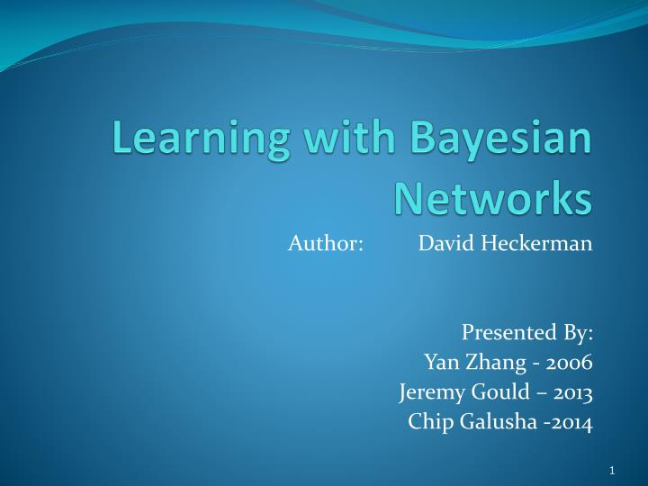 learning with bayesian networks n.