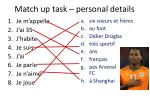match up task personal details