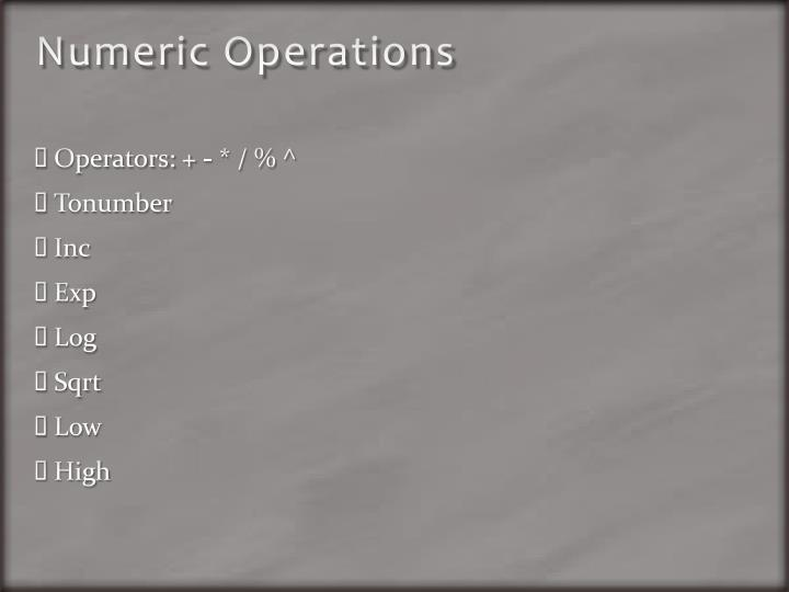 Numeric Operations