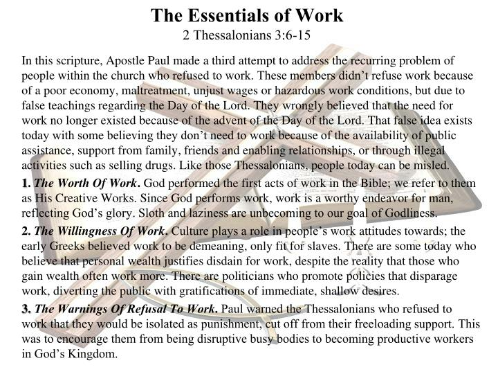 the essentials of work 2 thessalonians 3 6 15 n.