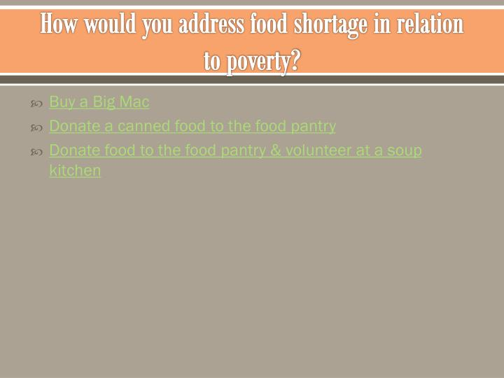 How would you address food shortage in relation to poverty?