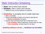 static instruction scheduling