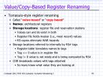 value copy based register renaming