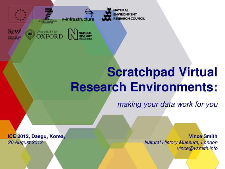 scratchpad v irtual research environments making your data work for you n.