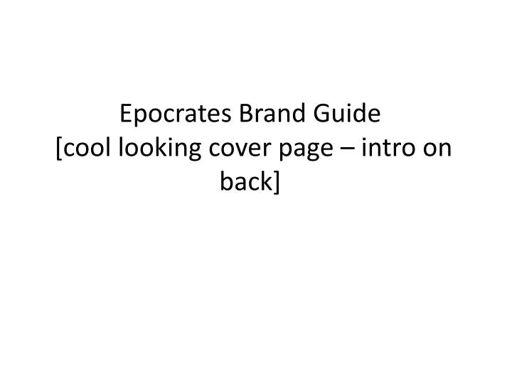 epocrates brand guide cool looking cover page intro on back n.