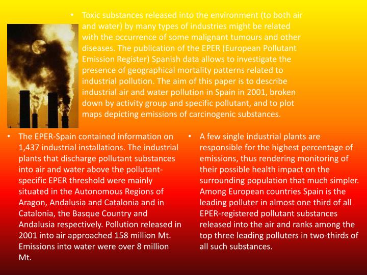 Toxic substances released into the environment (to both air and water) by many types of industries might be related with the occurrence of some malignant