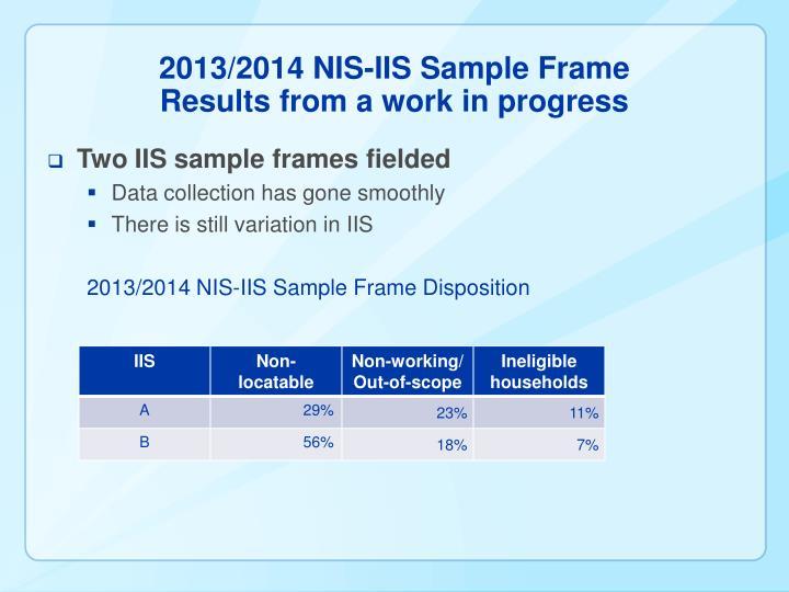 2013/2014 NIS-IIS Sample Frame