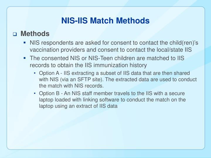 NIS-IIS Match Methods