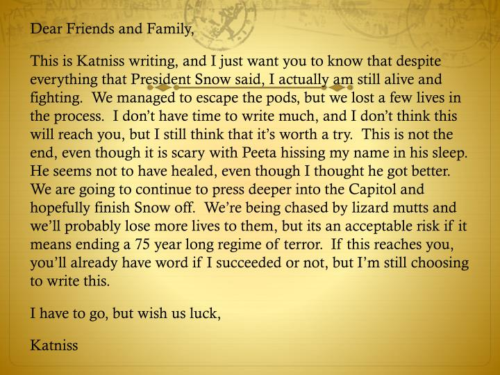 Dear Friends and Family,