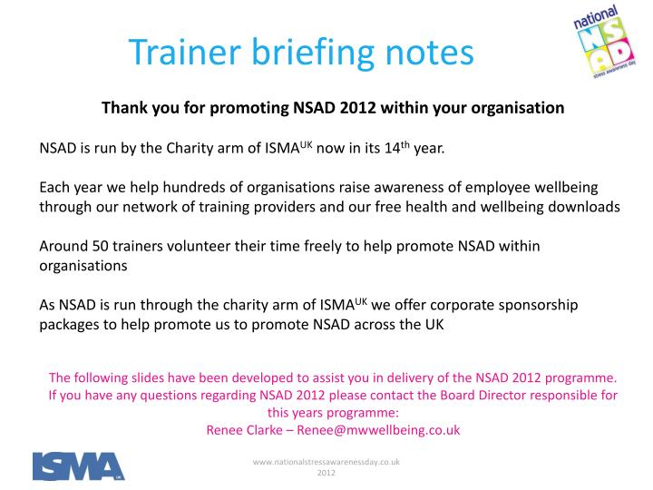 Trainer briefing notes