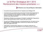 le 5 plan strat gique 2011 2015 renforcement des missions prioritaires 10 15