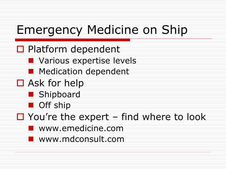 Emergency Medicine on Ship