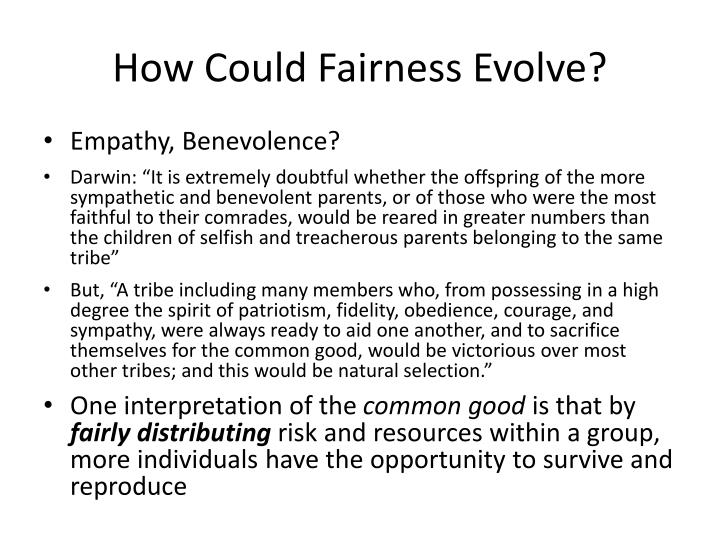 How Could Fairness Evolve?