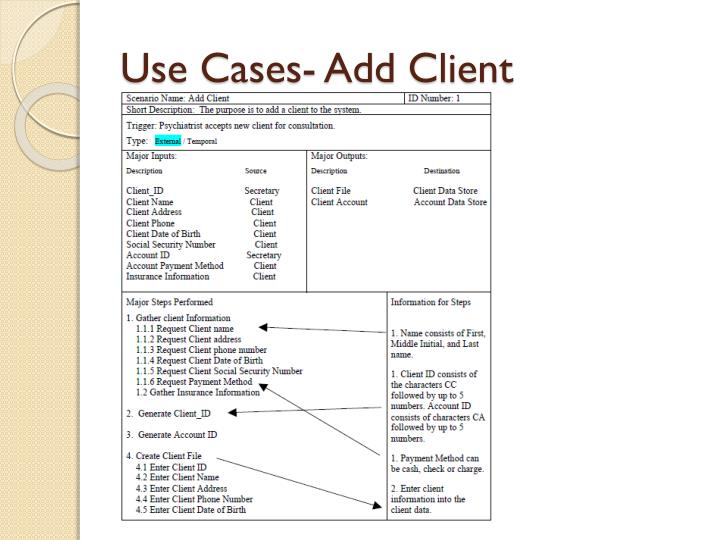 Use Cases- Add Client
