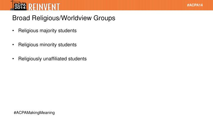 Broad Religious/Worldview Groups