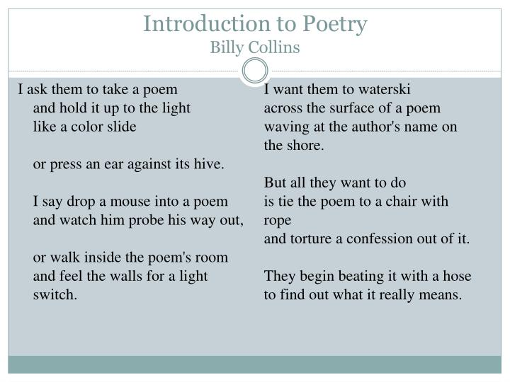 essay on introduction to poetry by billy collins Letters to author an apology for poetry, or, why bother with billy collins review of billy collins, sailing alone around the room: random house, 2001.