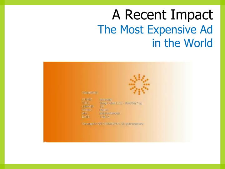 A recent impact the most expensive ad in the world