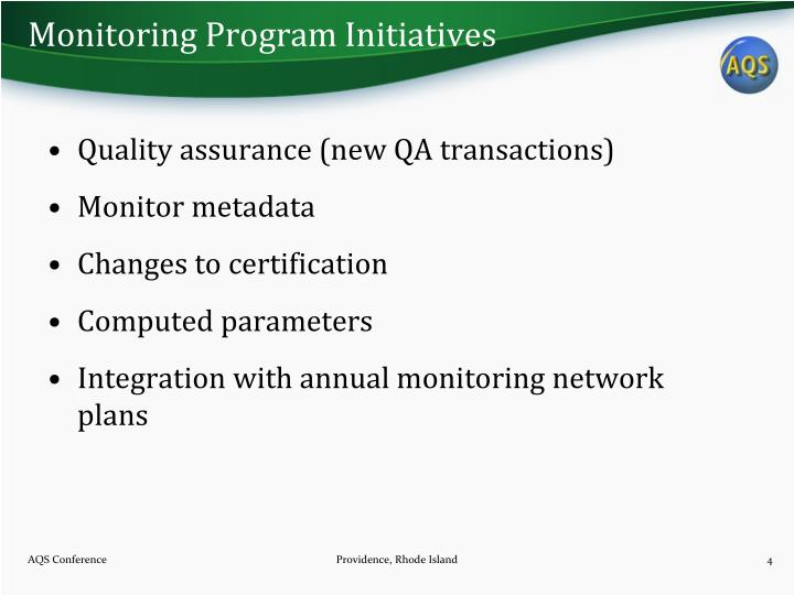 Monitoring Program Initiatives
