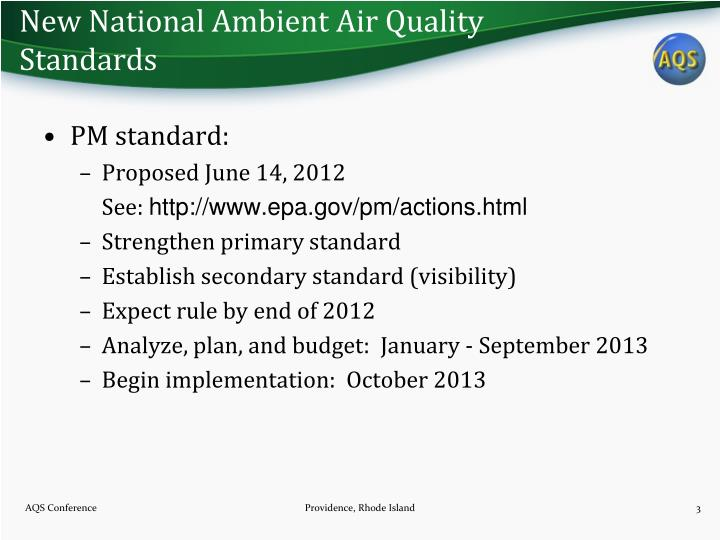 New national ambient air quality standards