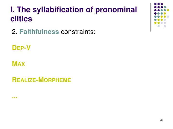 I. The syllabification of pronominal