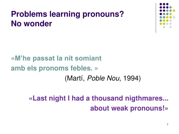 Problems learning pronouns?