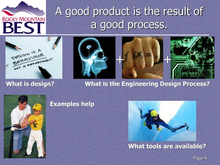 A good product is the result of a good process.