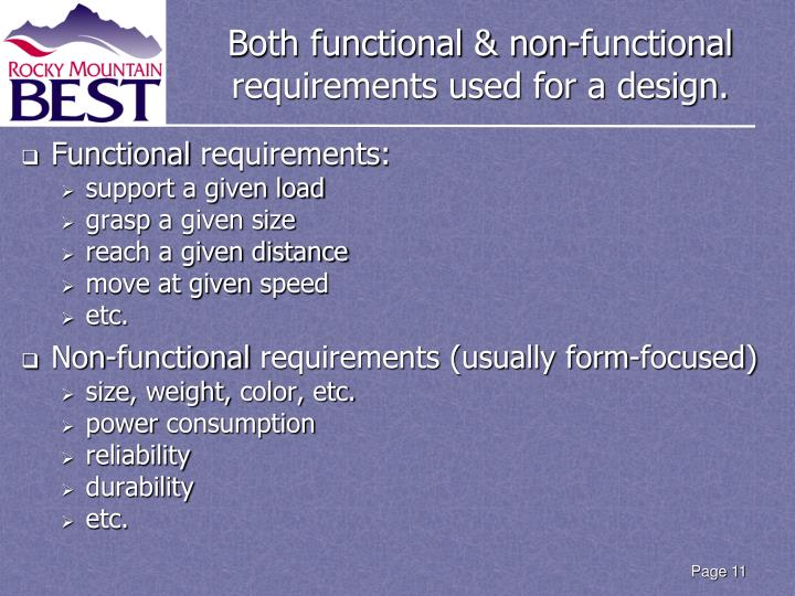 Both functional & non-functional requirements used for a design.