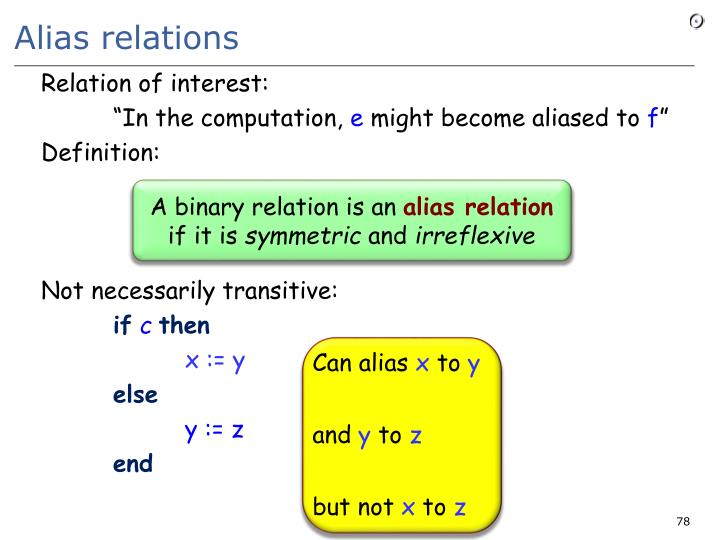 Alias relations