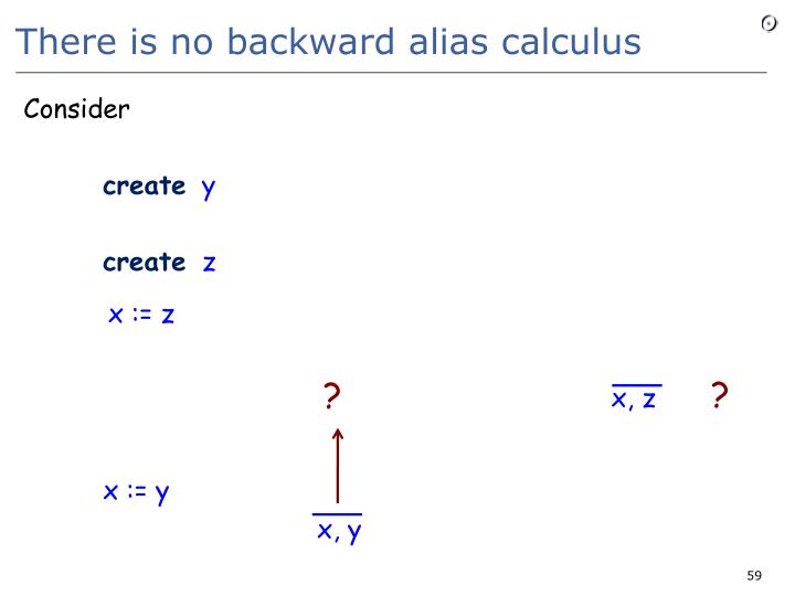 There is no backward alias calculus