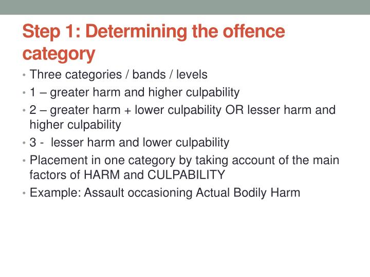 Step 1: Determining the offence category