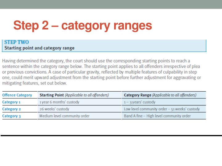 Step 2 – category ranges