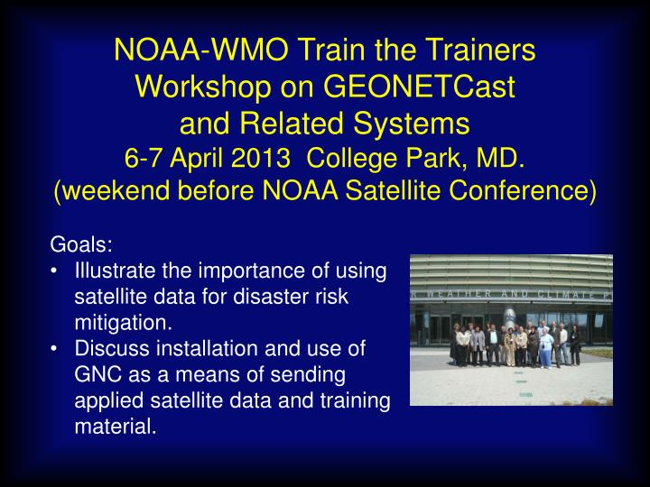 NOAA-WMO Train the Trainers