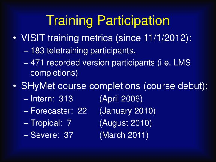 Training participation