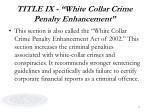 title ix white collar crime penalty enhancement