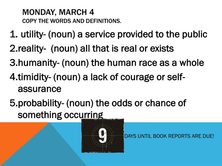 Monday march 4 copy the words and definitions