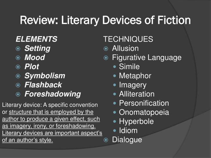 importance literary elements Literary devices and their use in poetry the task set out in this essay is to examine the listed devices (accentuation, creation of hierarchies, shifts of accent, ambiguity, semanticisation and creation of relationship) of syntactic foregrounding, using examples from poems as illustration.