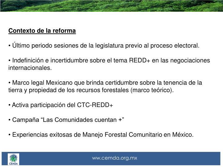 Contexto de la reforma