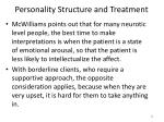 personality structure and treatment